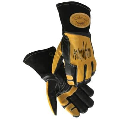 Large Black Ergonomic Cow Grain Stick/MIG Welding Gloves