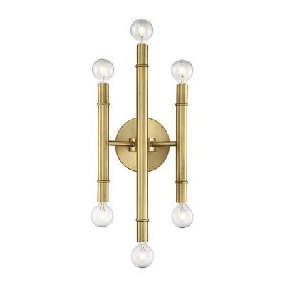 6-Light Natural Brass Sconce