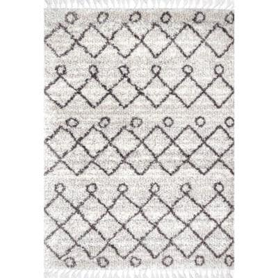 Kristi Moroccan Transitional Shag Ivory 8 ft. x 11 ft. Area Rug