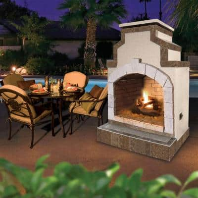 48 in. Propane Gas Outdoor Fireplace in Porcelain Tile