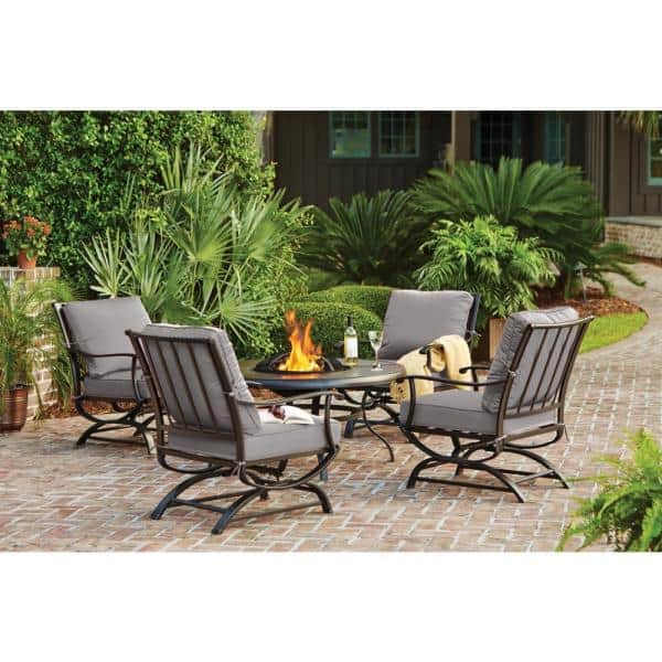 Hampton Bay Redwood Valley Black 5 Piece Steel Outdoor Patio Fire Pit Seating Set With Cushionguard Stone Gray Cushions H132 01424900 The Home Depot