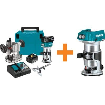 Makita 18-Volt LXT Brushless Compact Router Kit 5.0 Ah w/ Bonus 18-Volt LXT Brushless Variable Speed Compact Router