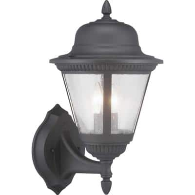 Westport Collection 2-Light Textured Black Clear Seeded Glass Traditional Outdoor Medium Wall Lantern Light