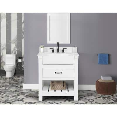 Wellford 31 in. W x 22 in. D x 34.50 in. H Bath Vanity in White with Engineered Stone Vanity Top in White with Basin
