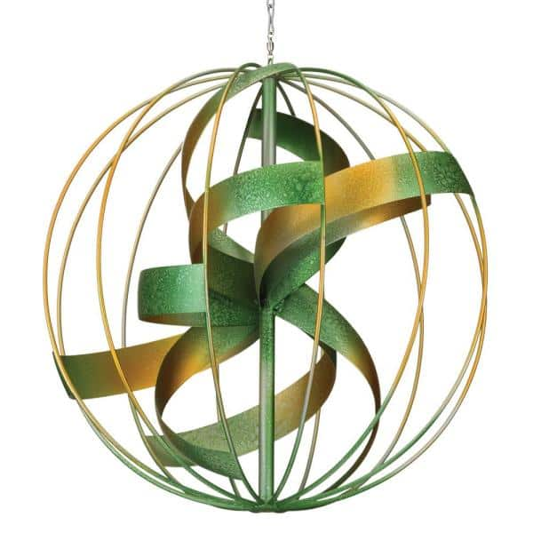 """WIND SPINNER Hanging Wind Spinner Set of 2 Copper Flame 10/""""x10/""""x24/"""" 12298"""