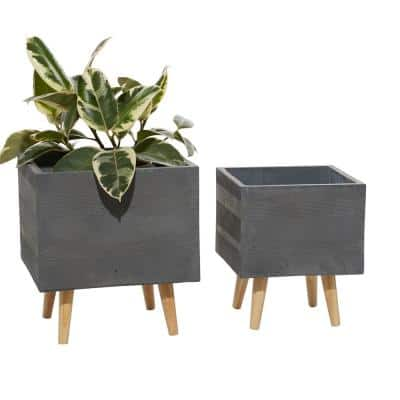 13 in. and 15 in. Dark Grey Square Fiberclay Planters (Set of 2)