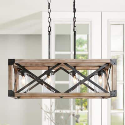 Modern Farmhouse Chandelier 4-Light Rustic Hammered Black Farmhouse Rectangular Wood Chandelier with Clear Glass Shades