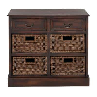 28 in. x 30 in. x 12 in. Dark Brown Wood Traditional Storage Unit