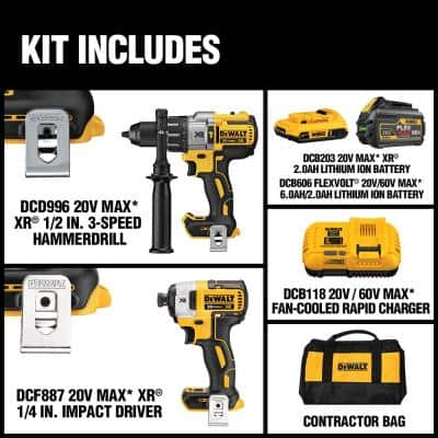 20-Volt MAX Cordless Brushless Combo Kit (2-Tool) with (1) FLEXVOLT 6.0Ah Battery, (1) 20-Volt 2.0 Battery & Charger