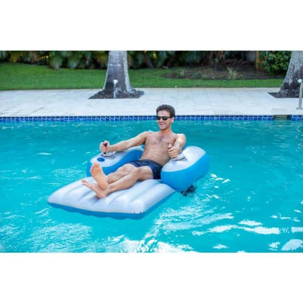 Poolcandy 66 In Inflatable Splash Runner Motorized Pool Lounger Pc4000sr Eu The Home Depot