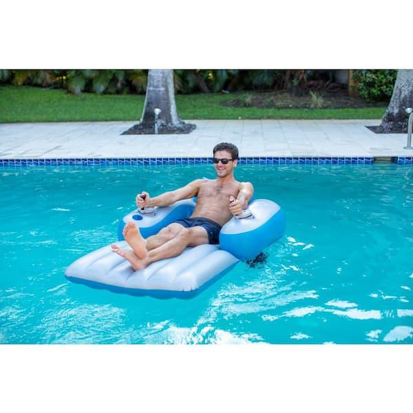 Poolcandy 66 In Inflatable Splash Runner Motorized Pool Lounger Pc4000sr Eu The Home Depot