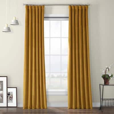 Retro Gold Velvet Rod Pocket Room Darkening Curtain - 50 in. W x 108 in. L