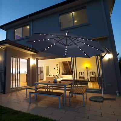 10 ft. 360° Rotation Aluminum Offset Cantilever Solar Tilt Patio Umbrella LED Lights in Navy