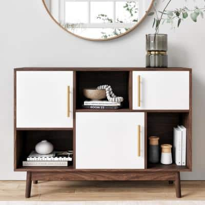 Ellipse Brown Cube Storage with Display Shelves and White Cabinet Doors