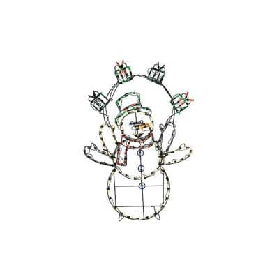 42 in. Christmas LED Animated Snowman with Gifts Outdoor Decor