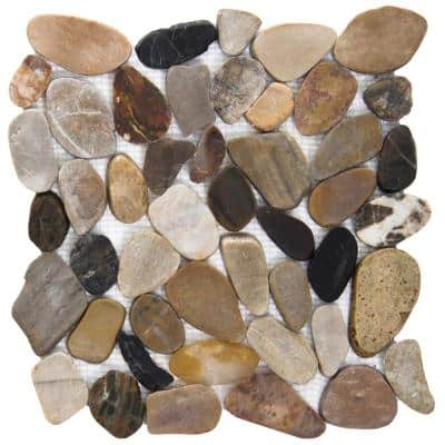 Rivera Pebbles 4 Color Honed 12.01 in. x 12.01 in. x 11 mm Pebbles Mesh-Mounted Mosaic Tile (1 sq. ft.)