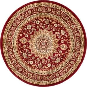 Timeless Aviva Red Traditional French Oriental 5 ft. x 5 ft. Round Area Rug