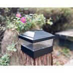 Relightable Solar 5 in. x 5 in. Black Vinyl Outdoor Post Cap Deck Lights (4-Pack)