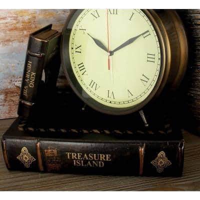 "Vintage Rectangular Wood and Faux Leather ""Treasure Island"" Book Boxes (Set of 3)"
