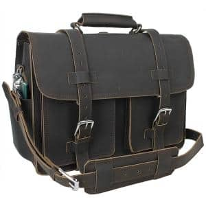 18 in. C.E.O. Classic Full Grain Leather Briefcase Backpack Travel Tote Multiple Purpose 9 lbs. Weight