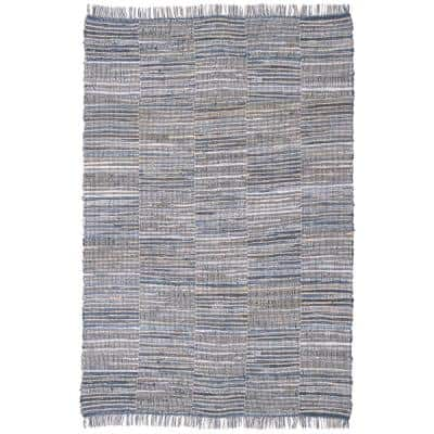Blue Jeans Checkers Denim / Hemp 2 ft. 6 in. x 4 ft. 2 in. Accent Rug