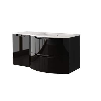 Oasi 43 in. Vanity in Glossy Black with Tekorlux Vanity Top in White with White Basin