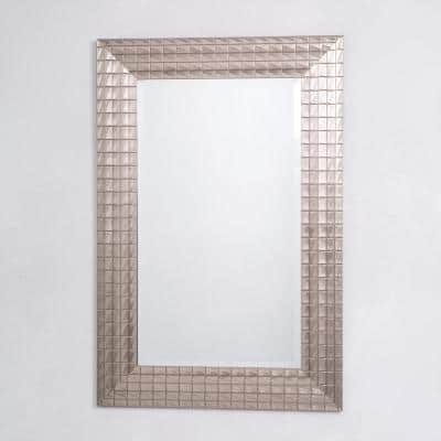 Medium Rectangle Pewter Finish Beveled Glass Antiqued Contemporary Mirror (36 in. H x 24 in. W)