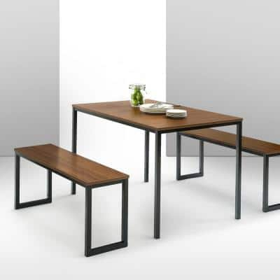 Louis Modern Studio Collection Soho Dining Table with Two Benches / 3 piece set