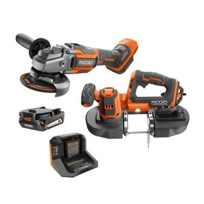 18V Cordless 2-Tool Combo Kit with Compact Band Saw, Brushless 4-1/2 in. Angle Grinder, 2.0 Ah Battery, and Charger