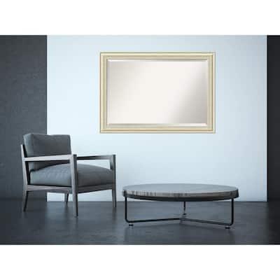 Medium Rectangle Rustic Whitewash Cream Casual Mirror (28.5 in. H x 40.5 in. W)