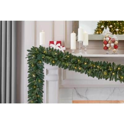 9 ft. Mayfield Pre-lit LED Artificial Garland with 50 Warm White Micro Dot Lights