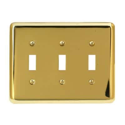Brass 3-Gang Toggle Wall Plate (1-Pack)