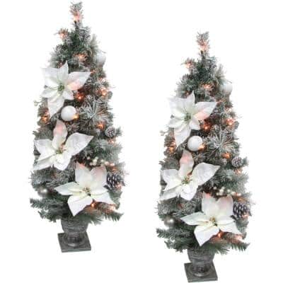 Prelit Christmas Frost Covered Porch Trees, Green (Set of 2)