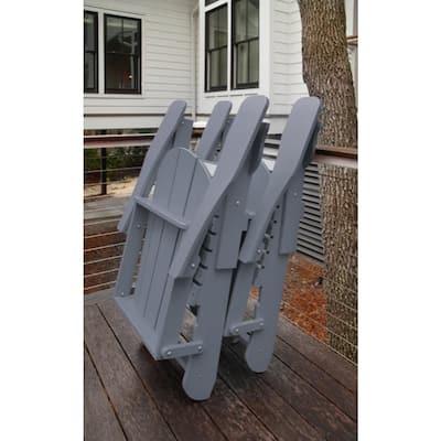 Recycled Grey Folding Plastic Adirondack Chair
