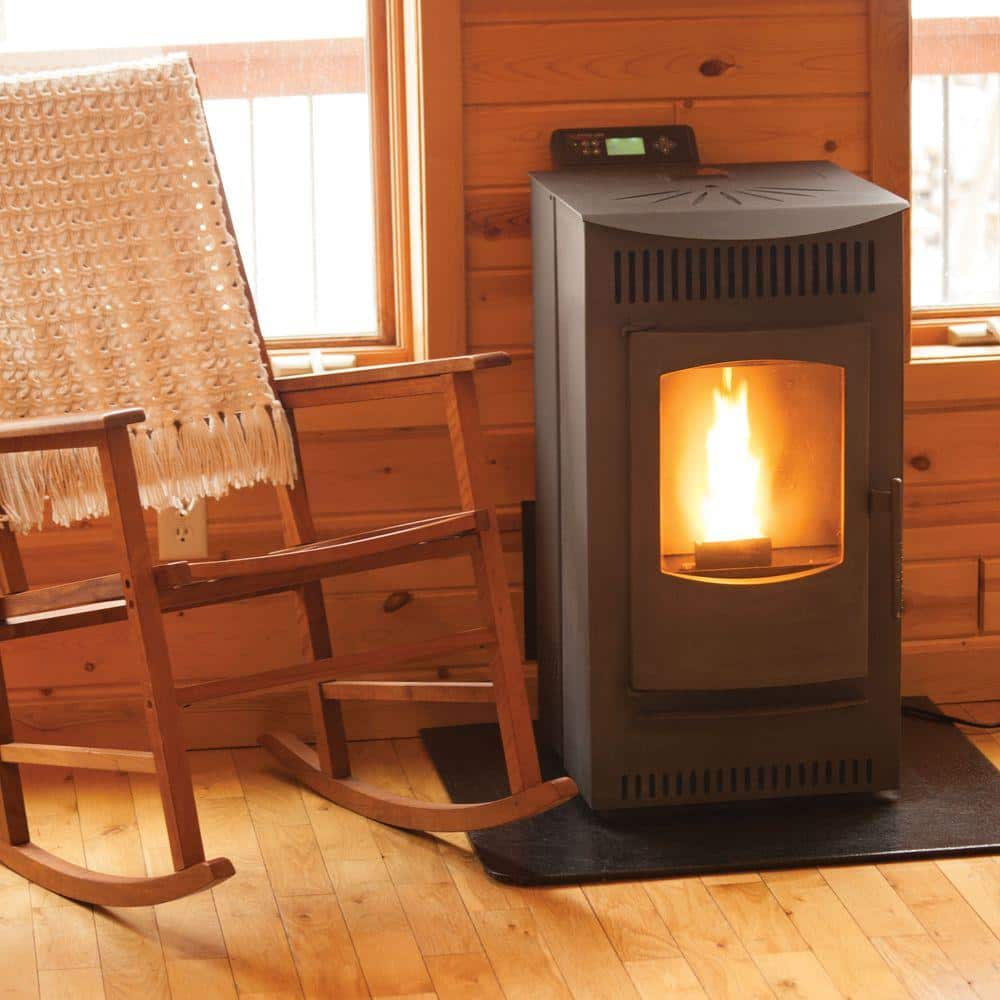 Castle 1 500 Sq Ft Pellet Stove With 40 Lb Hopper And Auto Ignition 12327 The Home Depot