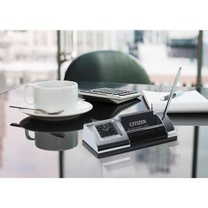 Executive Silver Tone Desk Clock