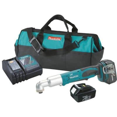 18-Volt LXT Lithium-Ion 1/4 in. Cordless Angle Impact Driver Kit with (2) Batteries 3.0Ah, Charger and Tool Bag