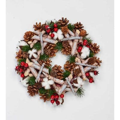 12 in. Artificial Birch Log Wreath with Pinecones Cotton and Berries