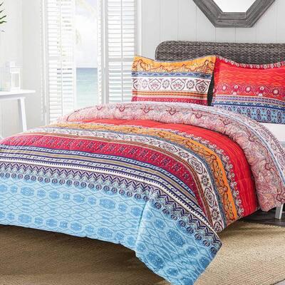 3-Piece Boho Luxury Microfiber Queen Comforter Set Printed Comforter with 2 -Pillow Shams