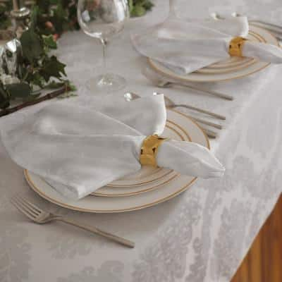 17 in. W x 17 in. L Barcelona Damask White Fabric Napkins (Set of 4)