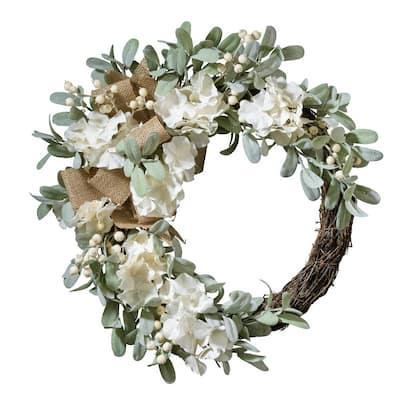 22 in. Artificial Cream Crescent Hydrangea Wreath with Burlap Accents