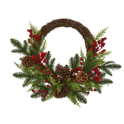 22in. Mixed Pine and Cedar with Berries and Pine Cones Artificial Wreath