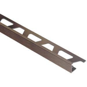 Jolly Brushed Antique Bronze Anodized Aluminum 3/8 in. x 8 ft. 2-1/2 in. Metal Tile Edging Trim