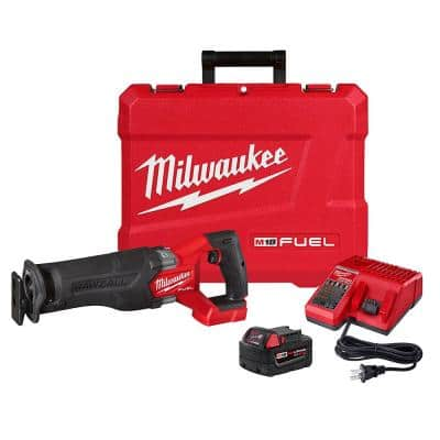 M18 FUEL 18-Volt Lithium-Ion Brushless Cordless SAWZALL Reciprocating Saw Kit W/one 5.0 Ah Batteries, Charger and Case