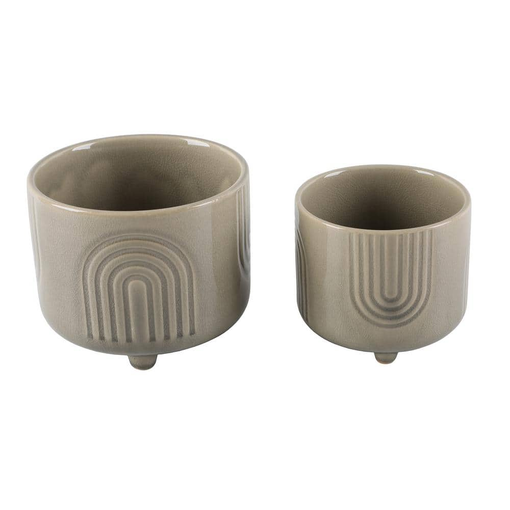 Flora Bunda 6 In X 4 75 In Rainbow Footed Ceramic Planter Set Of 2 Ct1163e2 Olive The Home Depot
