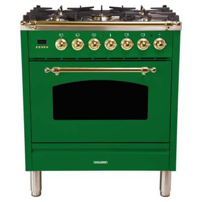 30 in. 3.0 cu. ft. Single Oven Italian Gas Range with True Convection, 5 Burners, LP Gas, Brass Trim in Emerald Green