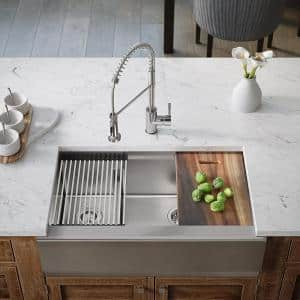 Stainless Steel 32-3/4 in. 30/70 Double Bowl Farmhouse Kitchen Sink