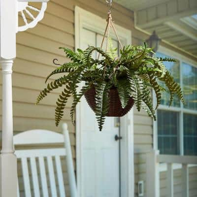 Indoor/Outdoor Faux Boston Fern Hanging Plant with Basket