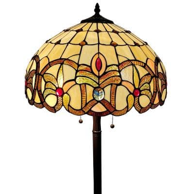 Tiffany 60 in. Gold & Tan Standing Floor Lamp with Stained Glass Shade