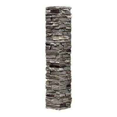 Slatestone 8 in. x 8 in. x 41 in. Pewter Faux Polyurethane Stone Post Cover